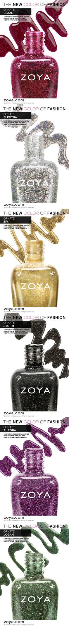 Introducing the Zoya Ornate Collection for Holiday/Winter 2012/2013! www.zoya.com/content/38/category/Zoya-Ornate-Winter-Holiday-Nail-Polish-Collection.html?O=PN121001MO13243