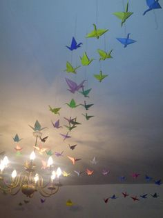 origami cranes 1000 Cranes, Make Wind Chimes, Origami Cranes, Board, Handmade, Hand Made, Planks, Handarbeit