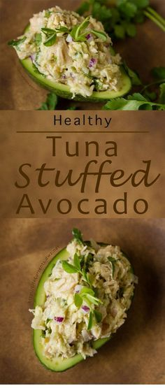 This Guacamole and Tuna Stuffed Avocado is super easy to make. And it contains no mayo so there's no guilt - it's just the simple healthy goodness of Fresh tasting Albacore tuna and guacamole stuffed inside a pretty avocado. Healthy Tuna, Healthy Diet Recipes, Healthy Meal Prep, Healthy Nutrition, Healthy Drinks, Healthy Eating, Cheese Nutrition, Proper Nutrition, Healthy Weight