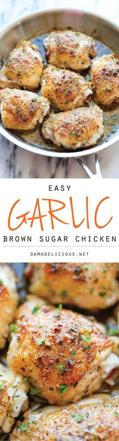Garlic Brown Sugar Chicken recipe. The best and easiest chicken, baked to crisp-tender perfection along with the most amazing sweet garlic sauce!