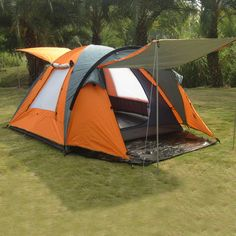 Popular Premium Quality Double-Layer Waterproof 4-Season Camping Tent w/Sun Shelter for 3-4 People 3 Colors