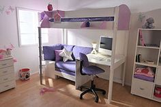 Girls loft with bench and desk...love this!