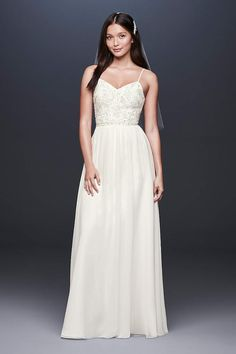 d7049014a28 View Spaghetti Strap Long Wedding Dress at David s Bridal Long Wedding  Dresses