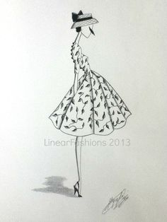 Fashion Illustration Spring Decor 1950s Vine by LinearFashions, $42.00