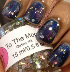 Inspiration on Galaxy manicure by Marisa Joseph. Check out more Nails on Bellashoot. Really Cute Nails, Pretty Nails, Hot Nails, Hair And Nails, Galaxy Nail Art, Nail Polish Art, Cute Nail Designs, Creative Nails