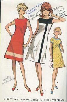 McCalls 8139 Misses Mod Color Block Mondrian A Line Dress Pattern Womens Vintage Sewing Pattern Size 14 Bust 34 Mod Fashion, Young Fashion, 1960s Fashion, Vintage Fashion, Fashion Line, Fashion Details, Trendy Fashion, Vintage Outfits, Robes Vintage