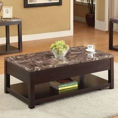 acme furniture carly faux marble and black 3 piece coffee and end