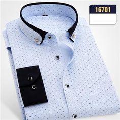 Men's Regular Fit Polka Dot Print Dress Shirt Fashion Design Button-Down Collar Men's Clothing Social Formal Business Shirts Mens Designer Shirts, Designer Suits For Men, Business Shirts, Business Casual Men, Casual Shirts For Men, Men Casual, Men Shirts, Stylish Shirts, Smart Casual