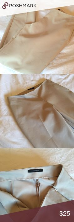 NEW LISTING! Tahari Sleek Latte Ponte Pant If you've never owned a pair of Tahari pants, this is your opportunity! These latte colored pants have a slight sheen and feel amazing! Slight stretch (cotton/poly/elastane blend). High quality closet staple. Size 8. Tahari Pants Ankle & Cropped