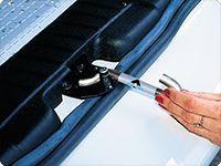 AIR-SAFE ® für VW Caddy 4/3 und VW T6/T5 ohne Heckklappen-Zuziehhilfe und für alle VW T4 aus rostfreiem Edelstahl (V2A).