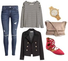Jeans, striped shirt, black jacket, pink shoes, watch