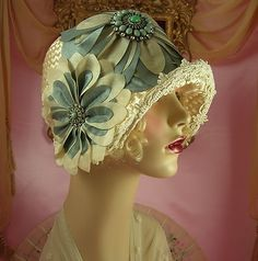 1920's vintage style off white teal rhinestone floral cloche flapper hat. @designerwallace