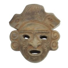 """A stunning ceramic mask handcrafted by a master artisan in fine detail. Approx. Size: 5"""" height x 5"""" wide"""