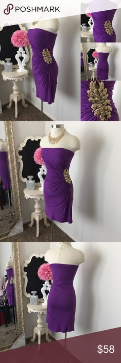 🌺 Sky  Purple Dress w/ Gold Embellishment 🌺 Sky  Gorgeous Purple Dress w/ Gold Embellishment -  Strapless - Side Roughing - Side Gold Tiger Cluster Embellishments- Dress is Not Lined  $89 New  Fabric : 93% Rayon - 7% Spandex  🌺 Accessories Not Included But Are also for Sale  Please Check out my Other Items in my GIRLe B Posh Shoppe'  Like us on FB   www.facebook.com/girleboutique Thanks For Looking & Always Let your Clothes get All the Attention 💋 ❌⭕️, Christina Sky Dresses Midi