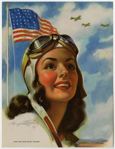 "The 7 x 9 ½ inch calendar top by artist Bradshaw Crandell is titled ""Into The Wild Blue Yonder."" Created during World War II is depicts a patriotic and idealized view of a female pilot with war planes and the American flag proudly flying in the background. Originally printed by Gerlach Barklow Co. of Joliet, Illinois."