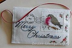 Cross-stitch Christmas Envelope, part 1...    Gallery.ru / Foto # 46 - Bullfinches robin pettirossi - Mosca