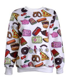 ZLYC Women Girls Lovely Cute Snacks Food Novelty Print Sweatshirt Hoodie Pullover White