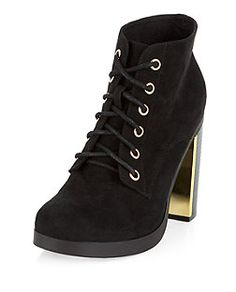 Black Lace Up Metal Block Heel Boots    New Look