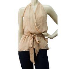 Haute Hippie Pinkish Beige 100% Silk Halter Top Blouse Size S Small | swapshop.gr