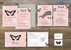 Butterfly vintage wedding stationery set by www.pip-designs.co.uk