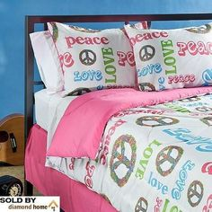 Girls Pink 4 Piece Peace Comforter Set Bright Peace Sign Pattern Multicolors Love Peace Themed Kids Teens Adults