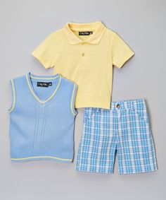 Loving this OK Kids Light Blue & Yellow Cable Sweater Vest Set - Infant & Toddler on #zulily! #zulilyfinds