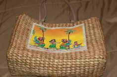 This is a straw bag with a cloth front emblem that has Hawaain girls dancing with palm trees. This is an older tote purse with a zippered top gently used in good condition. Cloth lined inside with one compartment. Girl Dancing, Tote Purse, Hawaiian, Straw Bag, Buy And Sell, Purses, My Style, Board, Handmade