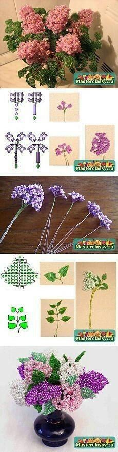 Flores con mostacillas
