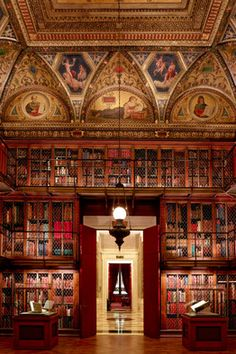 Architect Annabelle Selldorf decodes the Morgan Library's lofty design . WOW Library stunning . look at the art on the ceiling!  red and gold classic