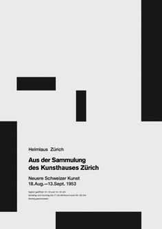 "Josef Muller-Brockman ""From the Collection of the Zurich Kunsthaus: Recent Swiss Art"", poster by Josef Muller-Brockmann, 1953"