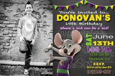 Chuck E Cheese Invitation with Optional Photo by Kardography