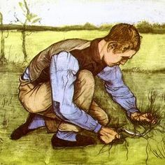 Boy Cutting Grass with a Sickle — Vincent van Gogh  Tending with tenderness.