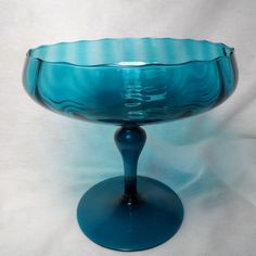 Empoli Teal Blue Optic Glass Compote-Low Rim Raised Pannels Pattern-1960's Italian Optic Glass Hand Blown by BCScollectibles on Etsy