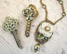 Old keys turned into a pendant