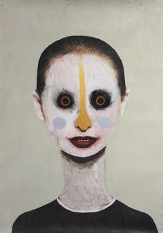 Guim Tió Zarraluki Face 4 - 2013 Mixed media on poster x Portrait Illustration, Watercolor Illustration, Bizarre Art, Painting People, Visual Comfort, Acrylics, Painters, Figurative, Creepy