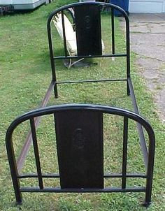 offering this nice clean antique twin size bed frame with an all metal frame footboard - Antique Iron Bed Frame