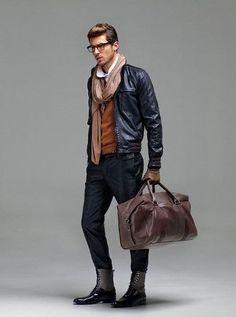 leather jacket and scarf men - Google-søk