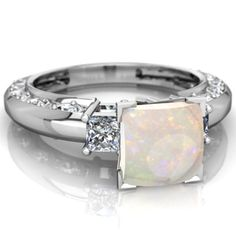 Opal Art Deco 14K White Gold ring R2001 - front view