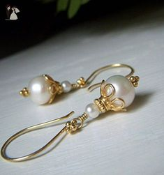White Real Freshwater Pearl Earrings - Gold Round Dangle - Bridal Jewelry - Wedding earings (*Amazon Partner-Link)
