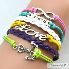 Armband ANKER & LOVE & FAITH  multicolour  im Schmuck Beutel
