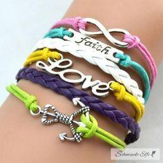 @EasiestFun @ezpopsy #follower #following #Accessories #Jewelry #Crafts #Necklace #style #Fashionwomen #women #2016 #girls #sexy Armband ANKER & LOVE & FAITH  multicolour  im Schmuck Beutel