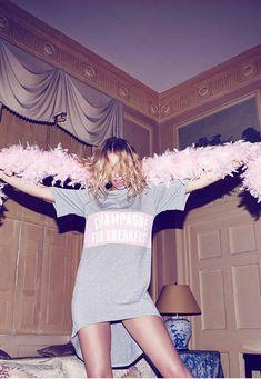 Champagne For Breakfast Nightshirt Grey - Nightwear - Night Shirts - Missguided
