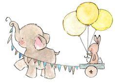 baby elephant and bunny decor--- JOYRIDE sunishine-- 8x10 Archival Art Print $10