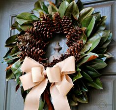Natural Fall Wreath: Magnolia Leaves and Pine Cones - Upright and Caffeinated Check out this beautiful natural fall wreath. Using simple elements like magnolia leaves and pine cones, this wreath is lovely for any front door. Natural Christmas, Rustic Christmas, Christmas Crafts, Xmas, Magnolia Wreath, Magnolia Leaves, Christmas Door Wreaths, Christmas Decorations, Holiday Wreaths