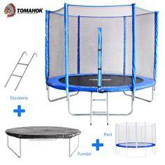 Cama elástica de la marca Tomahok importado de USA. Dispone de un diámetro de 2,45 m para saltar con comodidad y seguridad.