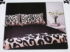 Playboy Bunny Black Leopard Reversible Queen Bed Quilt Cover Set New