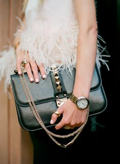 // three // Bag: Valentino (via Saks). Top: Alexander McQueen. Jewelry: David Yurman, Cartier, Pomellato.