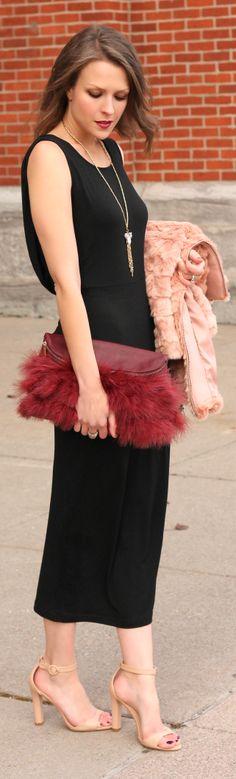 Rust Faux Fur Clutch by Penny Pincher Fashion