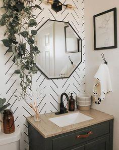 Bathroom Inspiration, Home Decor Inspiration, Design Inspiration, Bathroom Inspo, Bathroom Ideas, Herringbone Wallpaper, Bathroom Interior Design, Interior Design Wallpaper, Modern Wallpaper Designs