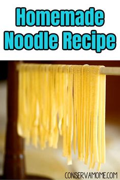 "These homemade noodles are a simple recipe and a fun way to get the kids together in the kitchen cooking. If you're looking for a recipe ""like Grandma used to make"", this is the one for you! Best of all only 3 ingredients! Best Pasta Recipes, Noodle Recipes, My Recipes, Savoury Recipes, Rice Recipes, Delicious Recipes, Potluck Dishes, Potluck Recipes, Cookbook Recipes"